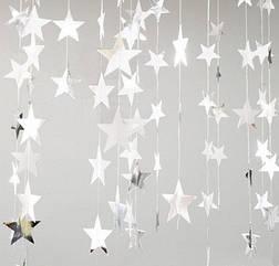 Гирлянда со звездочками , серебро зеркальное 4 метра