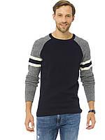 Мужской свитер черный LC Waikiki / ЛС Вайкики с серыми рукавами и полосками на рукавах, фото 1