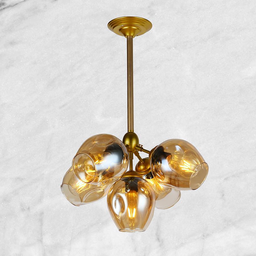 """Золотая люстра """"5 молекул"""" (56-LPR66005-5 GD) янтарно-прозрачный"""