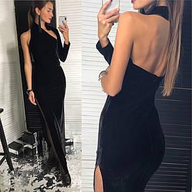 Вечернее макси платье из бархата с высоким разрезом
