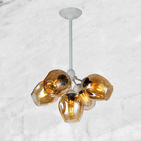 """Белая люстра """"5 молекул"""" (56-LPR66005-5 WH) янтарно-прозрачный, фото 2"""