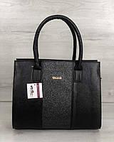 Деловая классическая сумка 31217 женская саквояж каркасная с полосой с блестками, фото 1