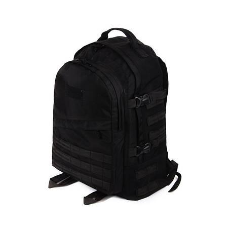 Тактический походный супер-крепкий рюкзак с органайзером 40 литров чёрный Кордура 500 ден. Армия спорт туризм