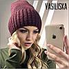 Зимняя вязаная женская шапка, фото 4