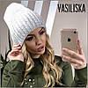Зимняя вязаная женская шапка, фото 5