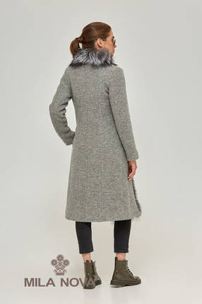 Женское серое пальто  с большим воротником, фото 2