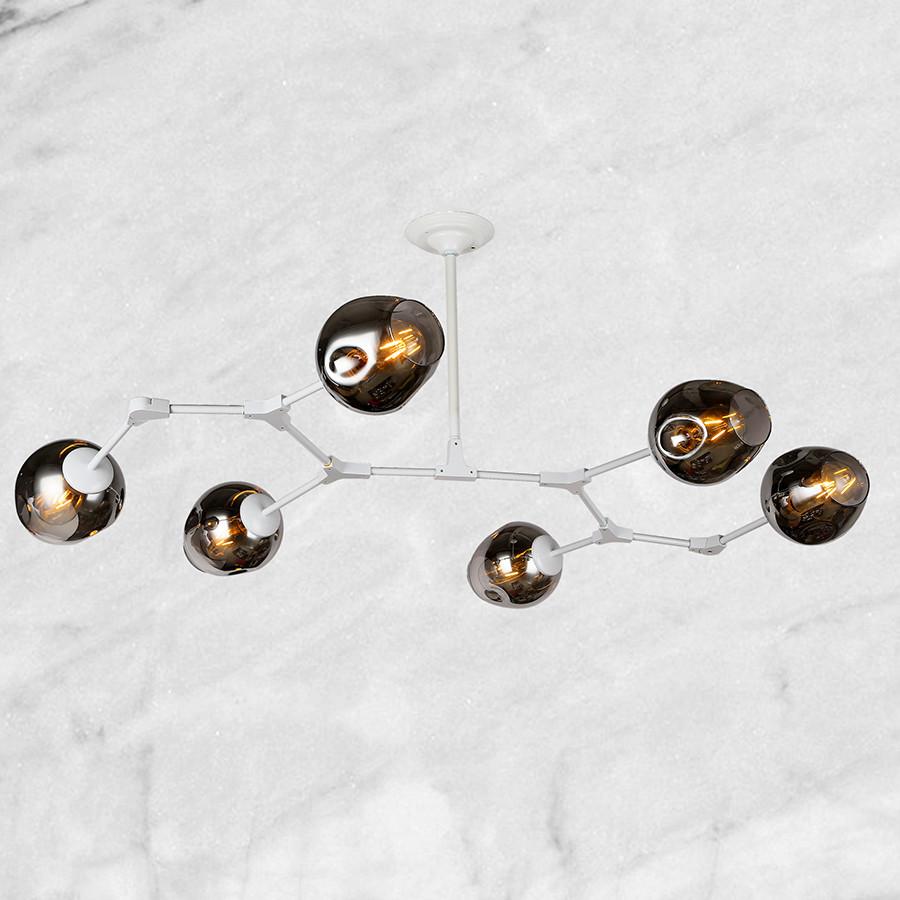 """Белая люстра """"6 молекул"""" (56-LPR0231-6 WH) чёрно-прозрачный"""