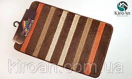 Одинарный ковриков в ванную комнату прорезиненный BANYOLIN 50x80см (цвет коричневый ,оранжевый)