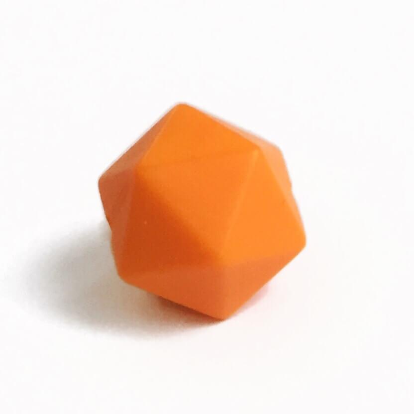 Средний икосаэдр (оранжевый) 17мм, силиконовая бусина