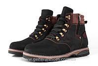 Мужские зимние ботинки кожаные Falcon 50717 черные высокие с натуральным мехом