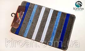 Одинарный ковриков в ванную комнату прорезиненный BANYOLIN 50x80см (цвет серый, синий)