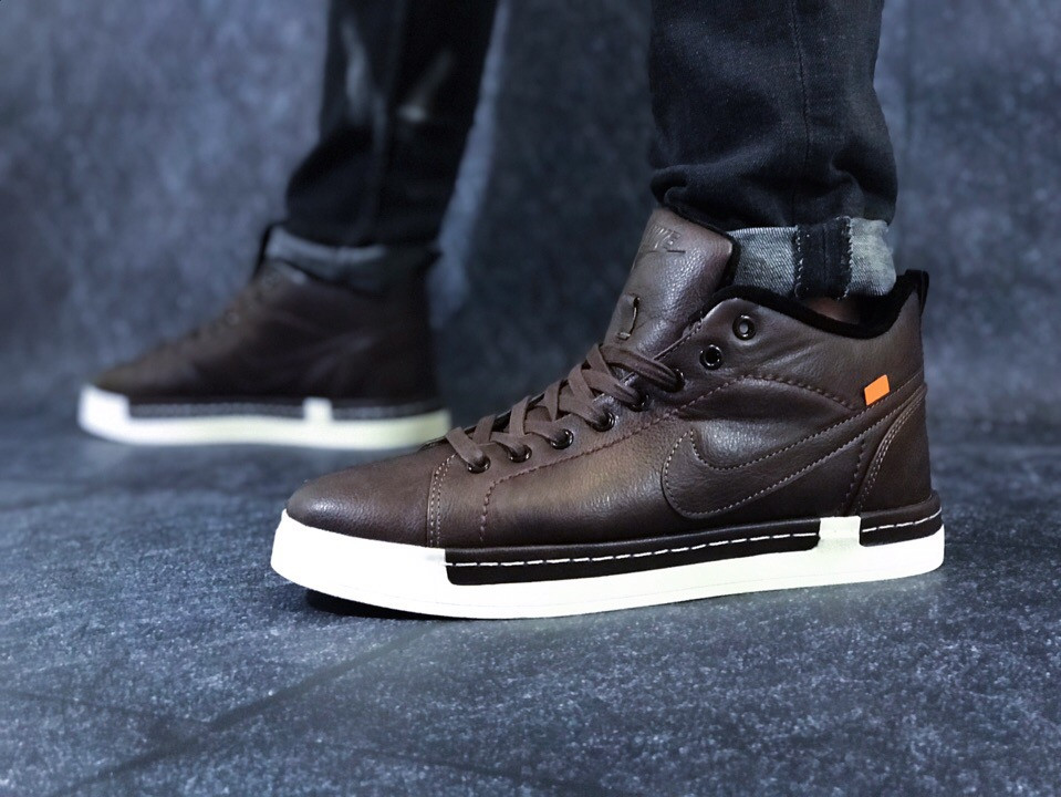 "Зимние кроссовки на флисе Nike Blazer Mid ""Brown"" (Коричневые)"