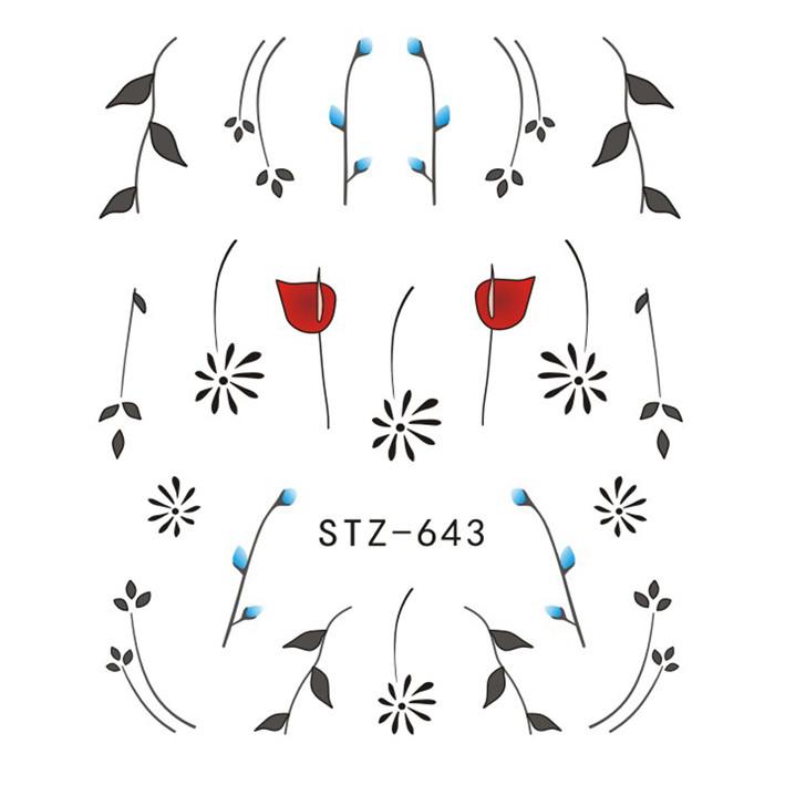 Наклейки для Нігтів Водні Чорного Кольору Серія STZ 645 Квіти Гілочки Пластина 6,5 х 5 см