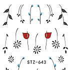 Наклейки для Нігтів Водні Чорного Кольору Серія STZ 645 Квіти Гілочки Пластина 6,5 х 5 см, фото 5
