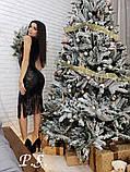 Женское шикарное платье расшитое черной паеткой с бахромой, фото 3