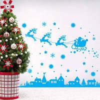 Интерьерная виниловая наклейка С Новым годом! (декор стен, праздничный стикер на окна, олени, санта, снежинки)
