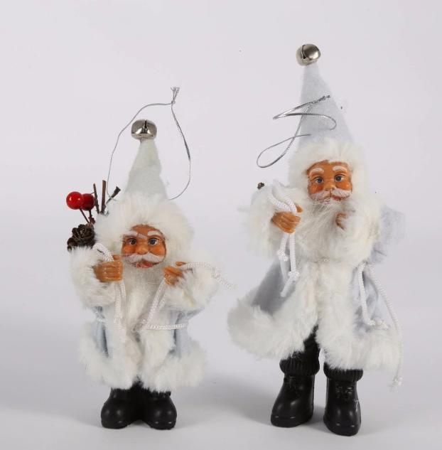 Дед Мороз Санта Клаус 20 см в белой шубке новогоднее украшение