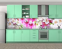 Кухонный фартук с бело-розовыми орхидеями (Наклейка на кухонный фартук) Самоклейка 60 х 250 см.