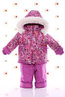 Зимовий комбез на овчині з підстібкою (рожевий з сердечками), фото 1