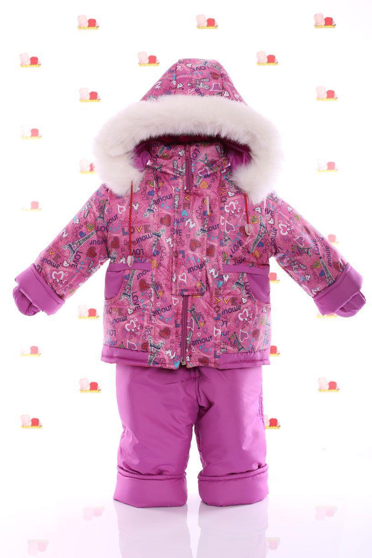Зимний комбез на овчине с подстежкой (розовый с сердечками)