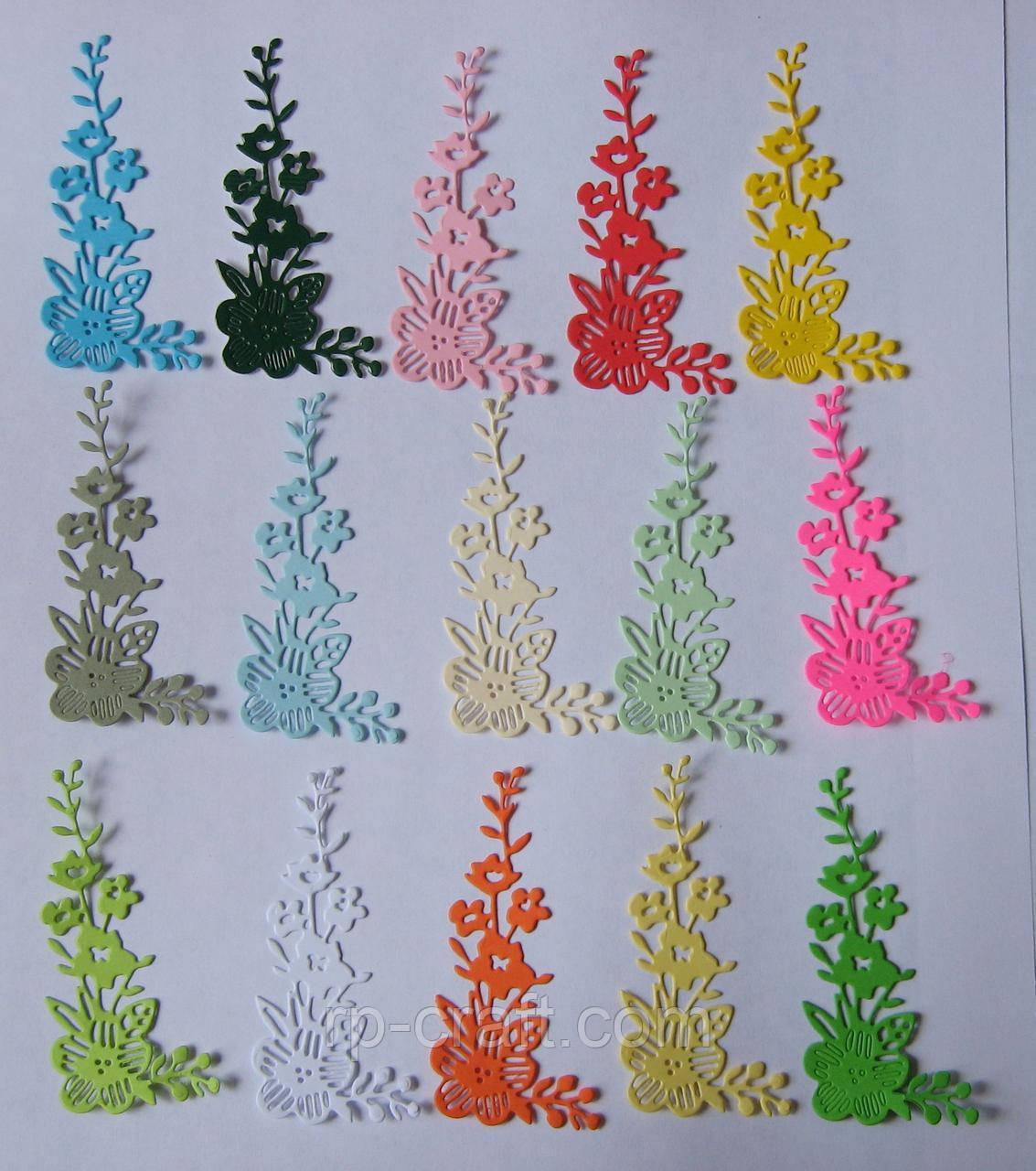 Вирубка з картону. Квіти, 34х72 мм