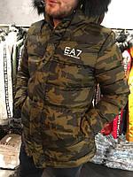 Зимняя мужская парка Empirio Armani с теплым капюшоном камуфляжная