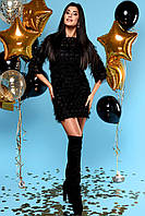 Свободное Воздушное Платье Короткое Шифоновое с Бахромой Черное S-XL, фото 1