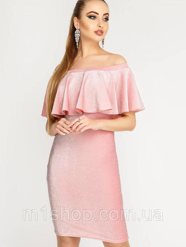 Женское платье из люрекса с воланом (Саванна люрекс leо)