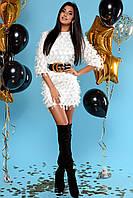 Свободное Воздушное Платье Короткое Шифоновое с Бахромой Белое S-XL, фото 1