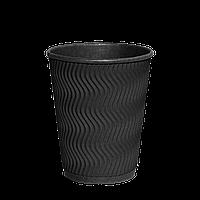 Одноразовый стакан гофрированный, серия Double Black 350мл  30шт/уп (1ящ/20уп/600шт) под крышку КВ90/РОМБ90