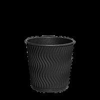 Одноразовый стакан гофрированный, серия Double Black 180мл 30шт (1ящ/35уп//1050шт) под крышку КР72
