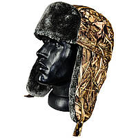 Шапка-ушанка зимняя камуфляж камыш