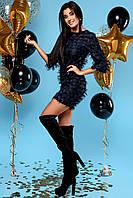 Свободное Воздушное Платье Короткое Шифоновое с Бахромой Темно-Синее S-XL, фото 1