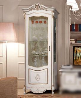 Шкаф- витрина правая Аллегро-2 СлонимМебель бежевая эмаль