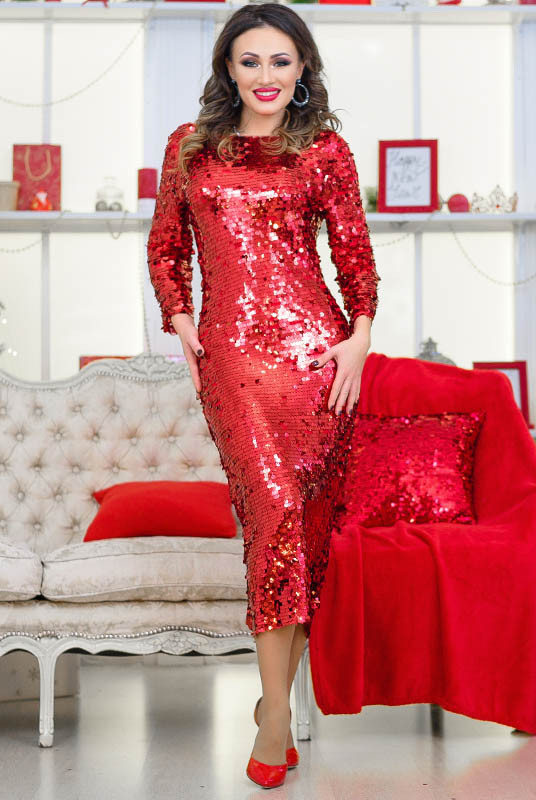 Блестящее красное платье Франсис