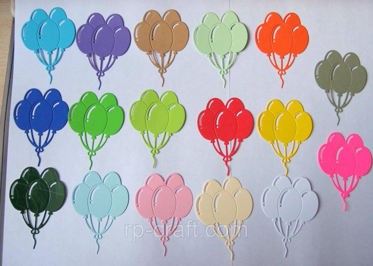 Вирубка з картону. П'ять повітряних кульок, 53х75мм