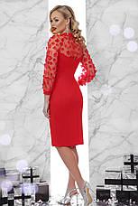 Червоне вечірнє плаття по фігурі до колін, фото 2