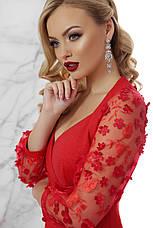 Червоне вечірнє плаття по фігурі до колін, фото 3