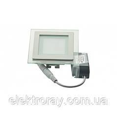 Светодиодный светильник Glass Rim Metal 6W 4200k квадратный, стекло, точечный