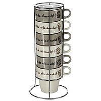 Набор из 6 фарфоровых чашек на подставке, кофейные кружки, набор чашек, фарфоровые кружки, цветные                     чашки, кружки на подставке