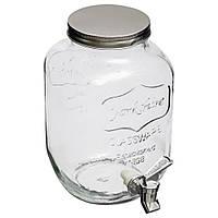 Стеклянный диспенсер к сокам и напиткам, банка с краником, диспенсер для воды, контейнер с краном                     для воды,лимонадница