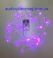 Гирлянда для декора с питанием от батареек, цвет сиреневый, 3 метра, 30 светодиодов , фото 1