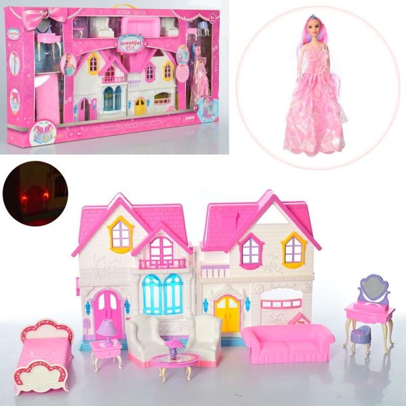 Будиночок WD-923B меблі, лялька, світло, музичний, в коробці, 88-44-9,5 см