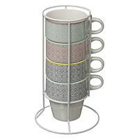 Набор из 4 фарфоровых чашек на подставке, кофейные кружки, набор чашек, фарфоровые кружки,кружки                     на подставке,цветные чашки
