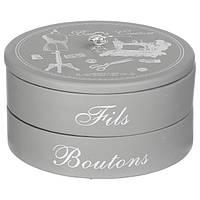 Серый органайзер для бижутерии в стиле гламур, коробка для бижутерии, декоративная коробка,                     коробка с отделениями,круглая