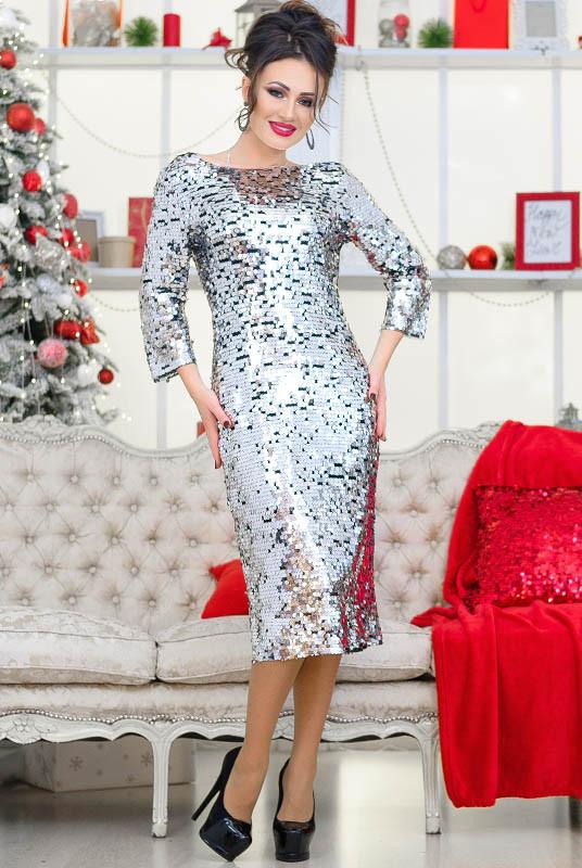 Шикарное платье на Новый год или вечеринку Франсис, серебро