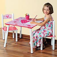 Деревянный столик и два стульчика, розовый цвет, мотив сердца, столик со стульчиками для детей,                     мебли для детей, Kesper