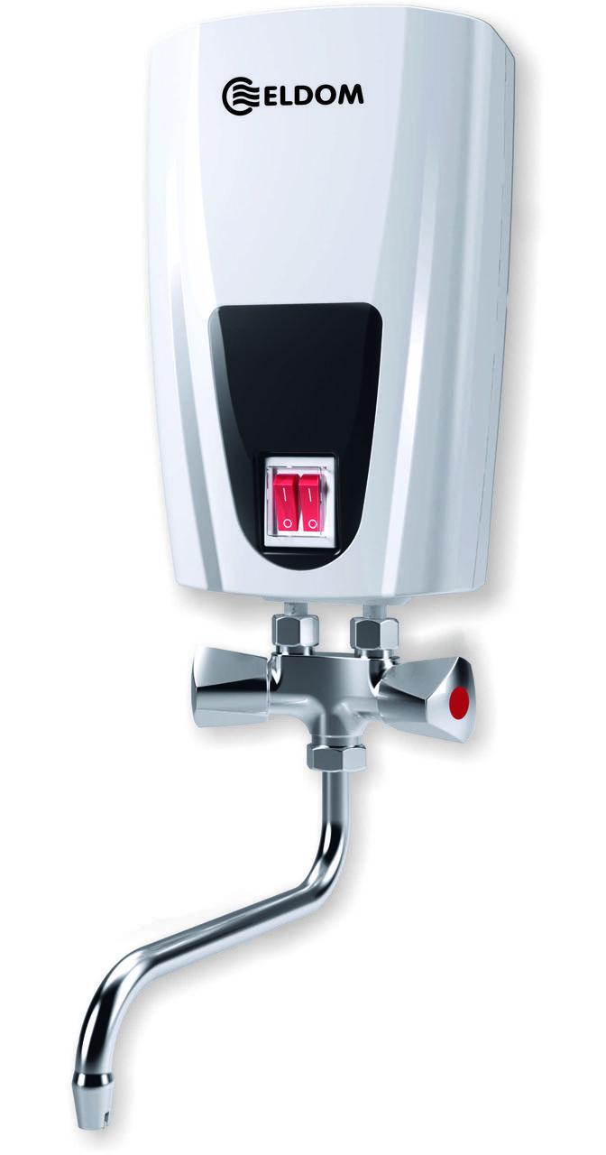 Водонагреватель электрический проточный ELDOM, кран 5000 W (3500+1500)