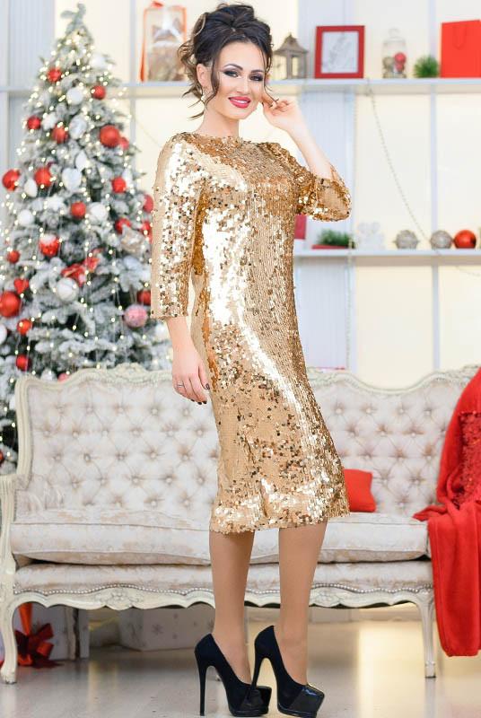 Модное платье с пайетками Франсис, золото