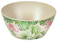 Декоративная мисочка из бамбука, с рисунком фламинго, салатница, мисочка для фруктов, миска для                     супа, посуда, Kesper